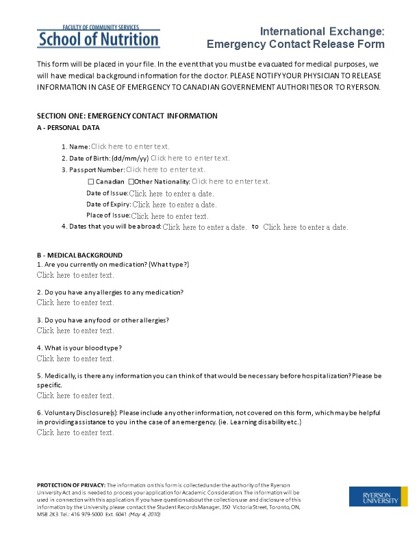 Section One: Emergency Contact Information