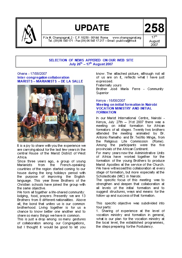 Selection of News Appered on Our Web Site