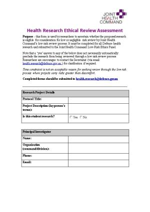 Self-Assessment Checklist for Research That Is Exempt from Ethical Review