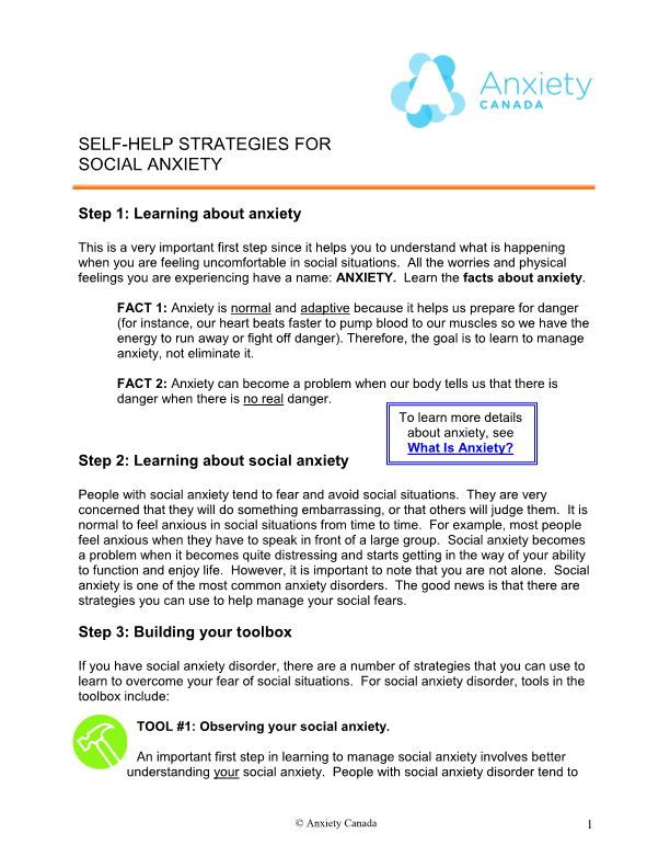 Self-Help Strategies for Social Anxiety