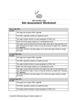 SEO: an Hour a Day: Site Assessment Worksheet