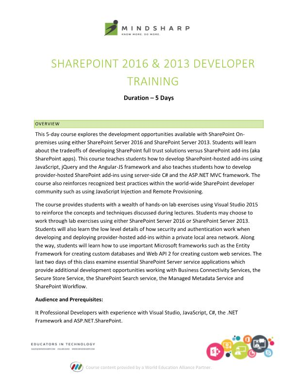 SharePoint 2016 & 2013 Developer Training