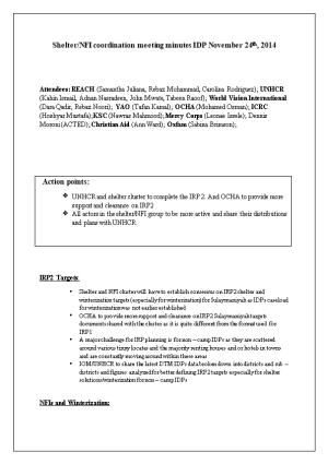 Shelter/NFI Coordination Meeting Minutes IDP November 24Th, 2014