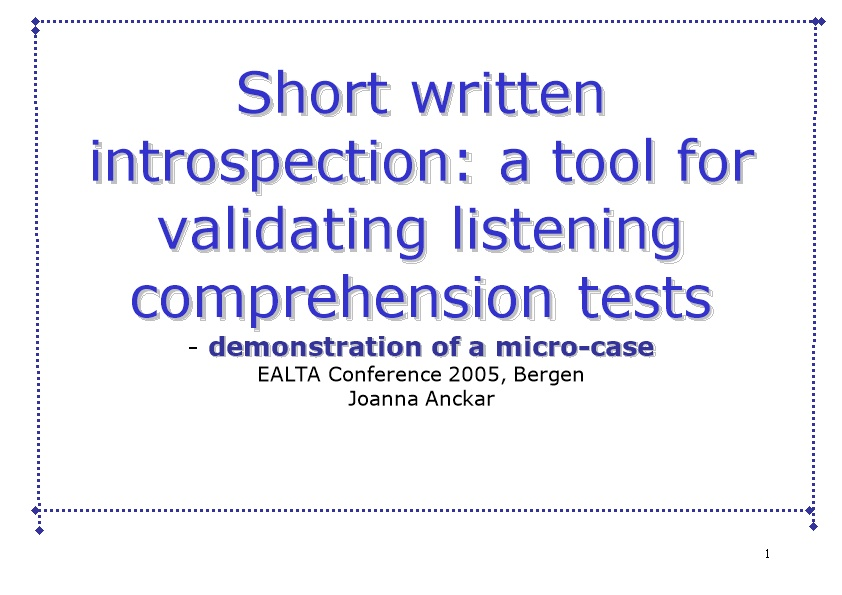 Short Written Introspection: a Tool for Validating Listening Comprehension Tests