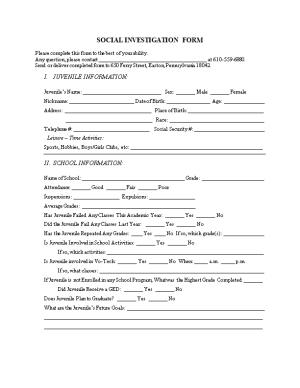 Social Investigation Form
