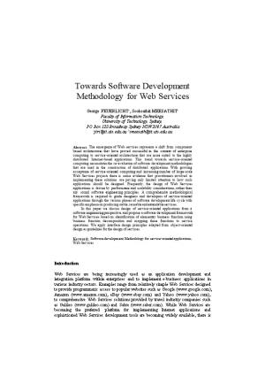 Software Development Methodology for Web Services