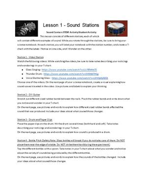 Sound Centers STEM Activity Student Activity