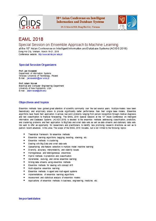 Special Session on Ensemble Approach to Machine Learning