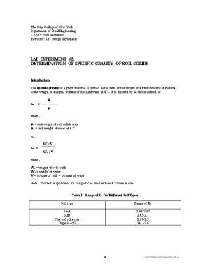 Specific Gravity of Soil Solids