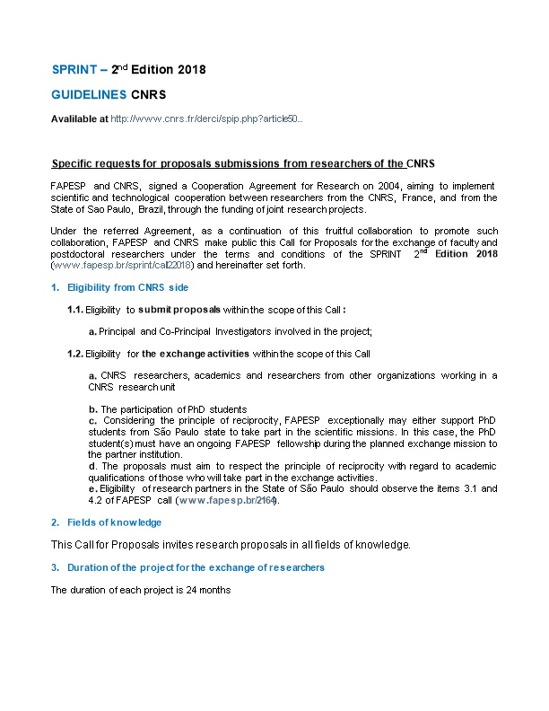 Specific Requests for Proposals Submissions from Researchers of the CNRS