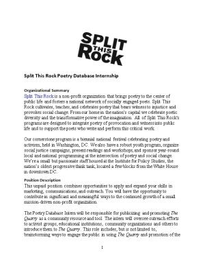 Split This Rock Poetry Database Internship Summer 2015