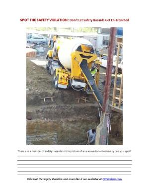 SPOT the SAFETY VIOLATION: Don T Let Safety Hazards Get En-Trenched