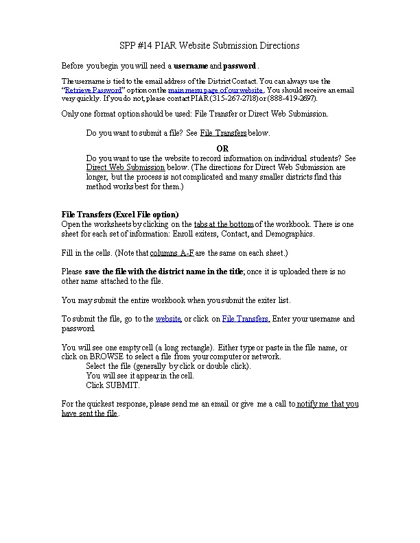 SPP #14 PIAR Website Submission Directions