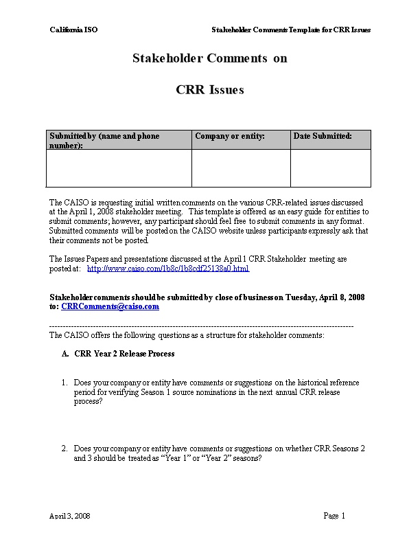 Stakeholder Template for Initial Comments on CRR Issues