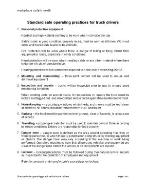 Standard Safe Operating Practices for Truck Drivers