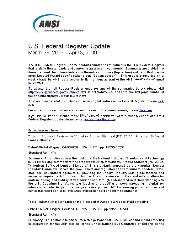 Standards and Trade Related Notices from the U.S. Federal Register, 4.03.09