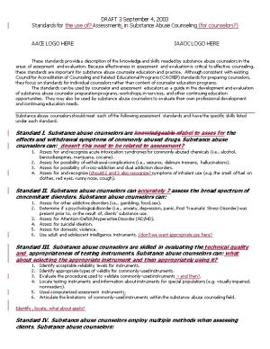 Standards for the Use Of? Assessments in Substance Abuse Counseling (For Counselors?)