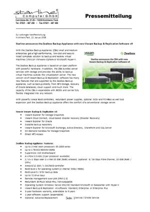 Starline Announces the Zealbox Backup Appliance with New Veeam Backup & Replication Software