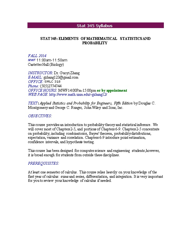 Stat 345: Elements of Mathematical Statistics and Probability