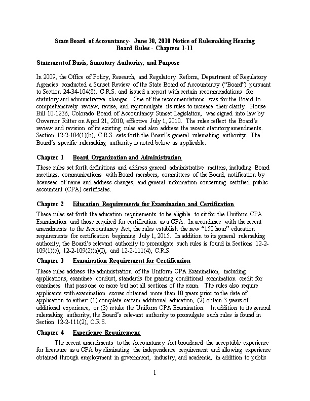 State Board of Accountancy- June 30, 2010 Notice of Rulemaking Hearing