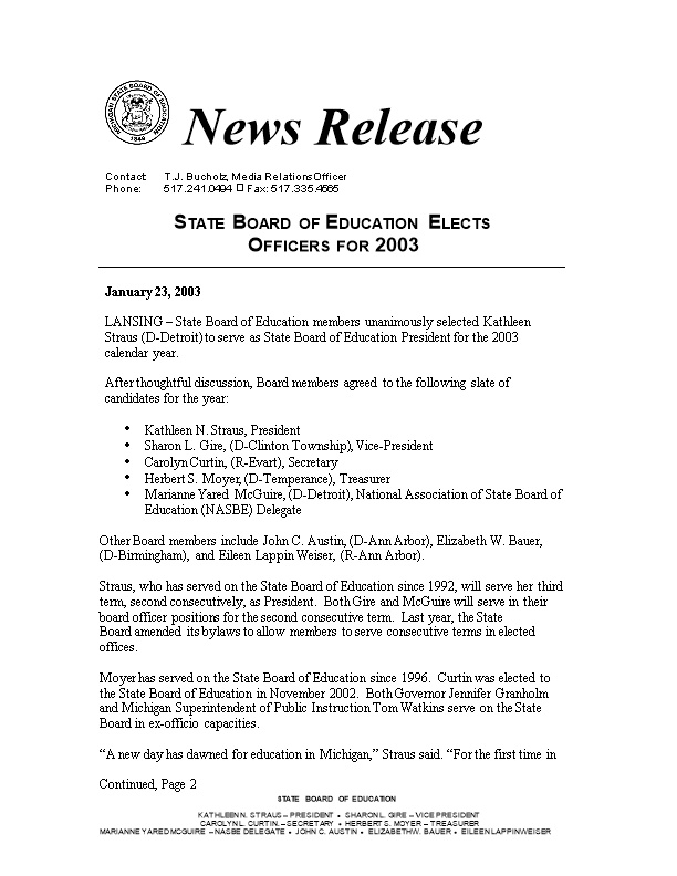 State Board of Education Elects Officers for 2003