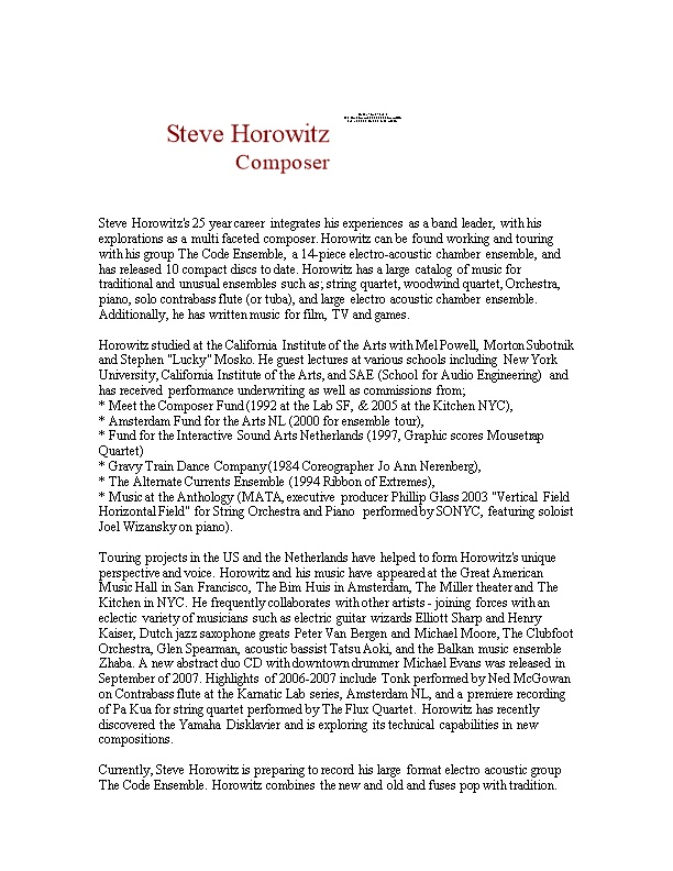 Steve Horowitz's 25 Year Career Integrates His Experiences As a Band Leader, with His