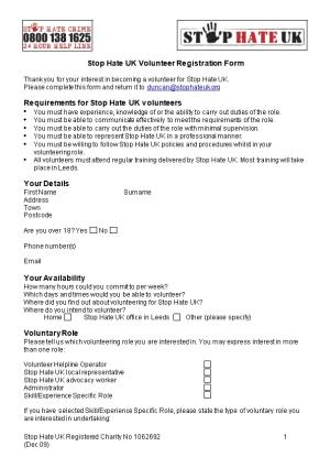 Stop Hate UK Volunteer Registration Form