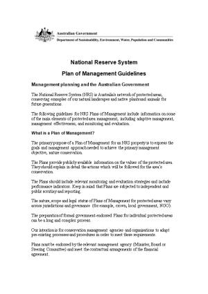Structure NRS Plan of Management Guidelines