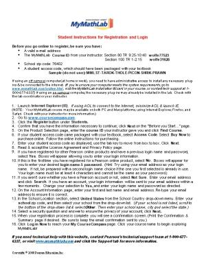 Student Instructions for Registration and Login