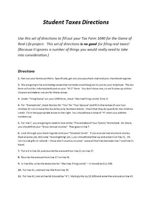 Student Taxes Directions