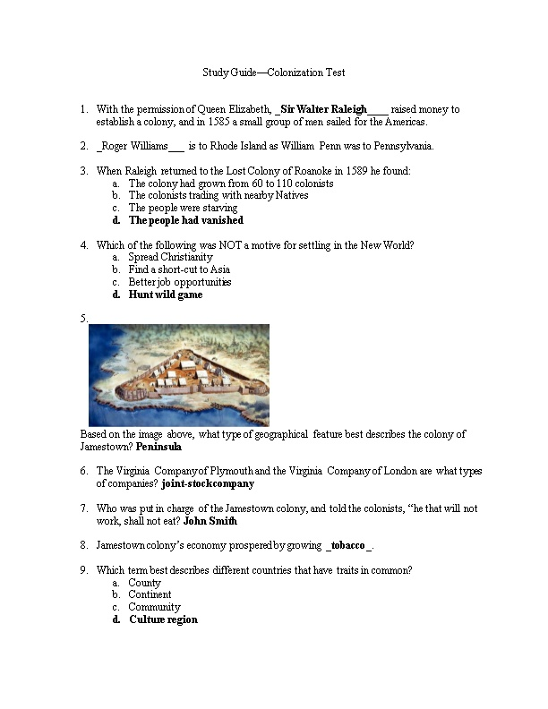 Study Guide Colonization Test