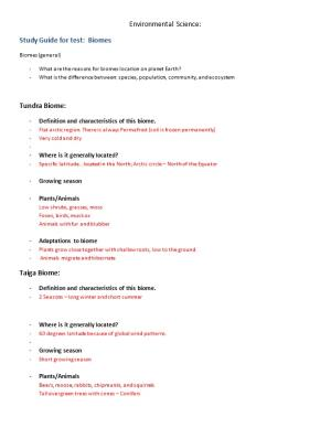 Study Guide for Test: Biomes