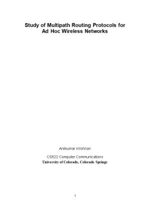 Study of Multipath Routing Protocols for Ad Hoc Wireless Networks