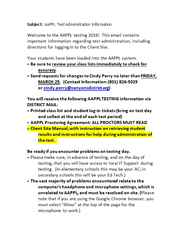 Subject: AAPPL Test Administration Information
