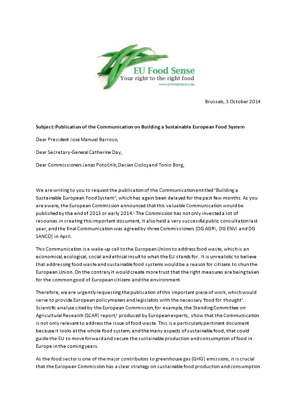 Subject: Publication of the Communication on Building a Sustainable European Food System