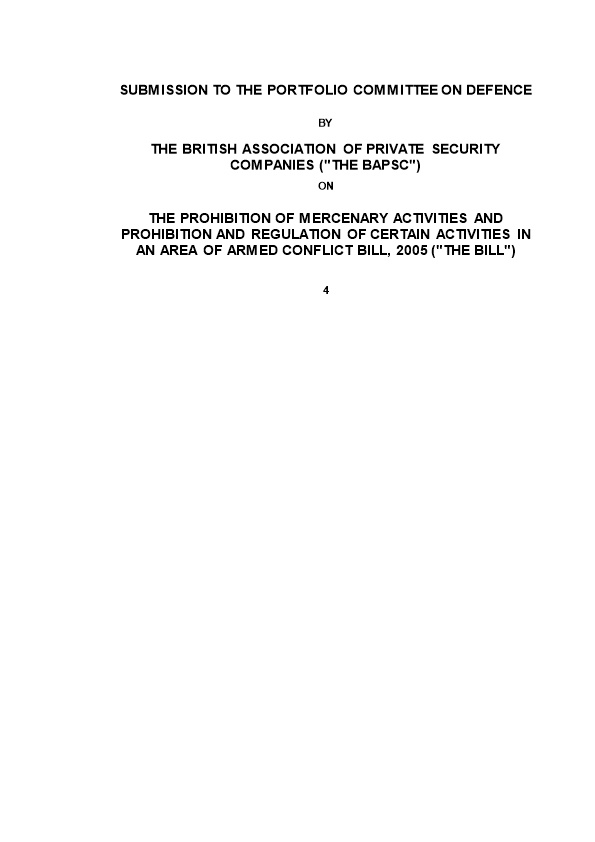 Submission to the National Assembly's Portfolio Committee on Defence: Constitutional Aspects