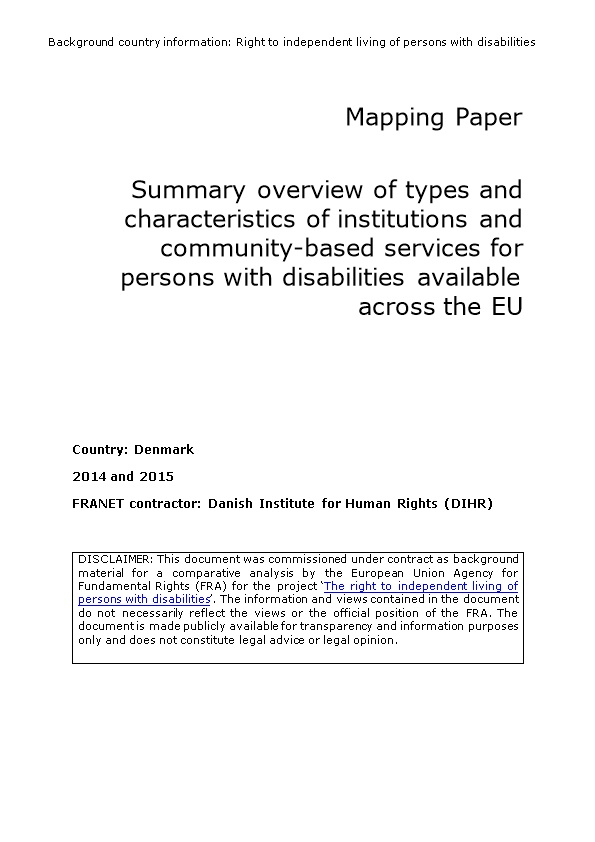 Summary Overview of Types and Characteristics of Institutions and Community-Based Servics
