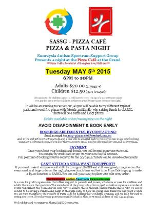 Sunraysia Autism Spectrum Support Group Present an Evening at the Pizza Café at the Grand