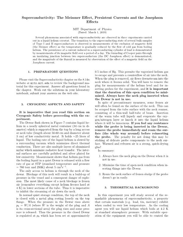 Superconductivity: the Meissner Effect, Persistent Currents and the Josephson Effects