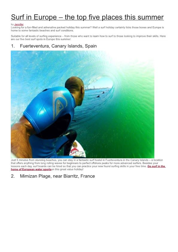 Surf in Europe – the Top Five Places This Summer