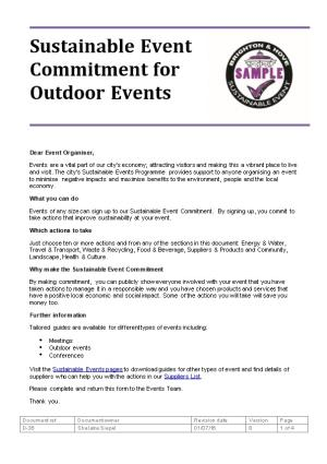 Sustainable Event Commitment for Outdoor Events