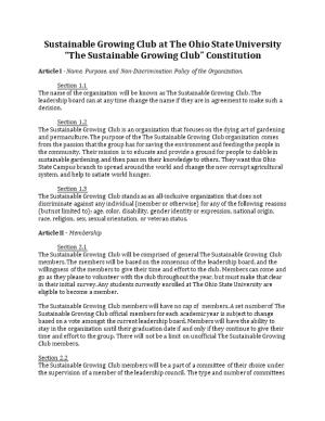 Sustainable Growing Club at the Ohio State University the Sustainable Growing Club Constitution