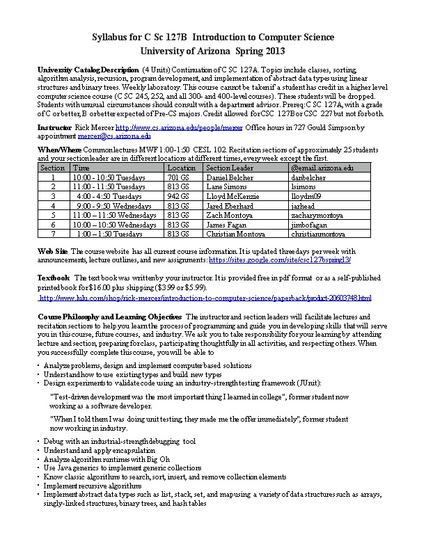 Syllabus for C Sc 127B Introduction to Computer Science