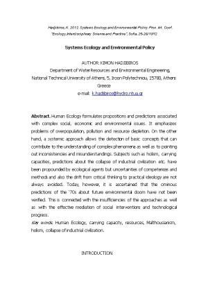 Systems Ecology and Environmental Policy
