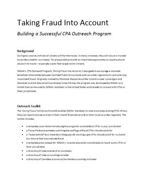 Taking Fraud Into Account Building a Successful CPA Outreach Program