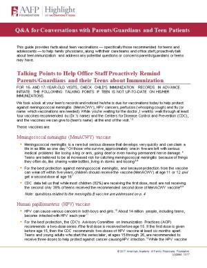 Talking Points to Help Office Staff Proactively Remind Parents/Guardians and Their Teens
