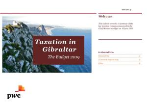 Taxation in Gibraltar the Budget 2019