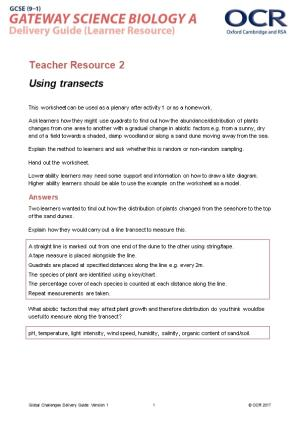 Teacher Resource 2: Using Transects