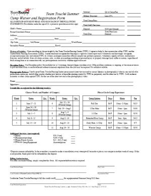 Team Touché Summer Camp Waiver and Registration Form