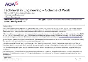 Tech-Level in Engineering Scheme of Work